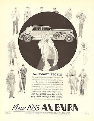 (Auburn, Super Charged, 150 hp, For Smart People, Vintage 1935 Antique Car Ad)