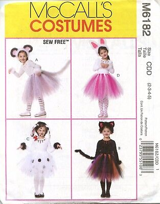 McCall's Costumes Pattern M6182 Tutu's and Ears Kitty Bunny Mouse Dalmation UC