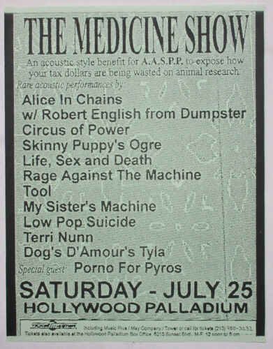 ALICE IN CHAINS TOOL RAGE AGAINST THE MACHINE Medicine Show PUNK Concert FLYER 1