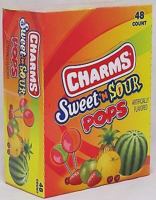 Charms Sweet n Sour Pops 48 Count Box Suckers Candy Lollipops Sweet and - Charms Suckers