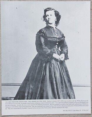 Vintage 11x14 Photograph Civil War, Actress & Union Army Spy Pauline Cushman
