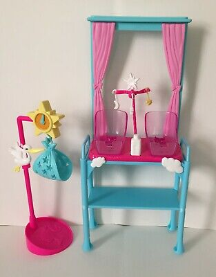 Barbie Doll I can Be Newborn Twin Baby Doctor Nursery Table Baby Beds Stork