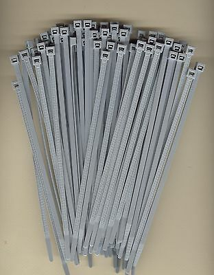 """100 7"""" Inch Long 50# Pound GRAY GREY Nylon Cable Zip Ties Ty"""