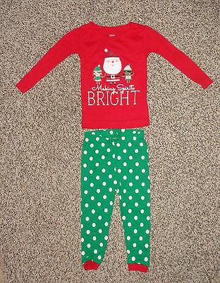 Just for You Baby Girls Christmas Pajamas Santa Elfs Red White Green 12 M NWOT