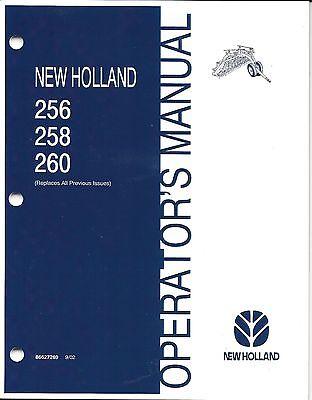 New Holland 256 258 260 Hay Rake Operator Repair Manual 86627269