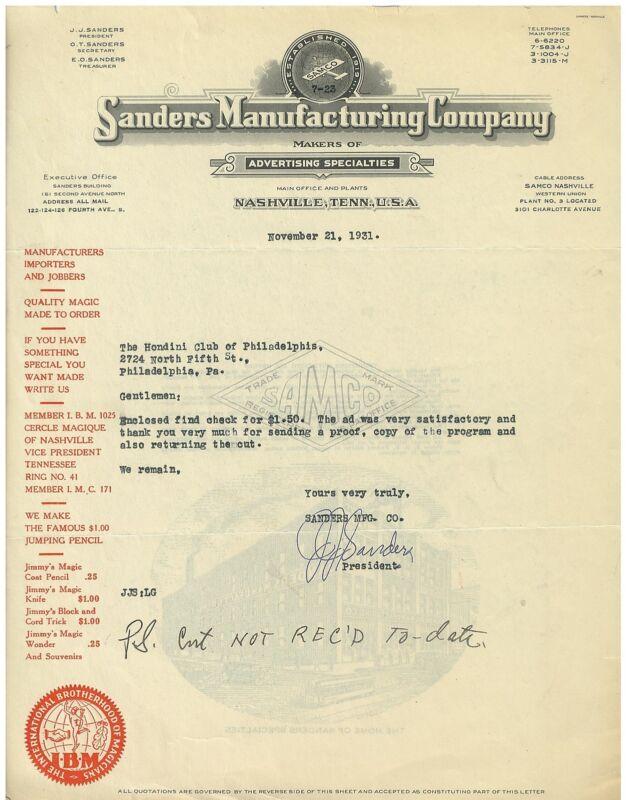 1931 ALS from Magic Equipment Manufacturer to Houdini Club of Philadelphia