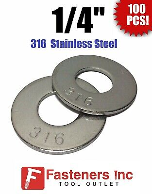Qty 100 14 Grade 316 Stainless Steel Flat Washer Grade 316