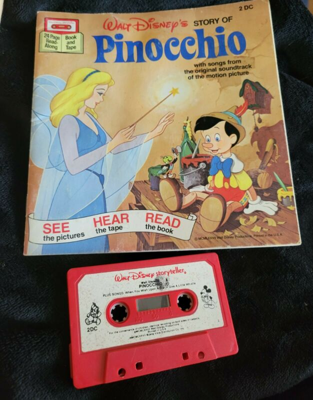 Vintage Disney Pinocchio Read-Along Book And Tape Cassette working 1977