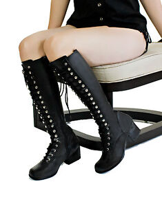 Black-Lace-Up-Gothic-Knee-High-Boots-Steampunk-Cyber-Punk-Gogo-Military-Retro