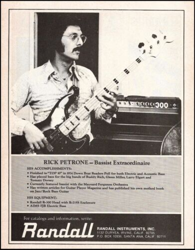 Rick Petrone (New York Mary) 1975 AIMS FJM Bass Randall R-300 Amp advertisement