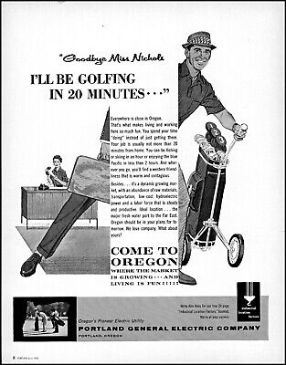 1961 Oregon commerce pioneer electric golf secretary vintage art Print Ad adL67