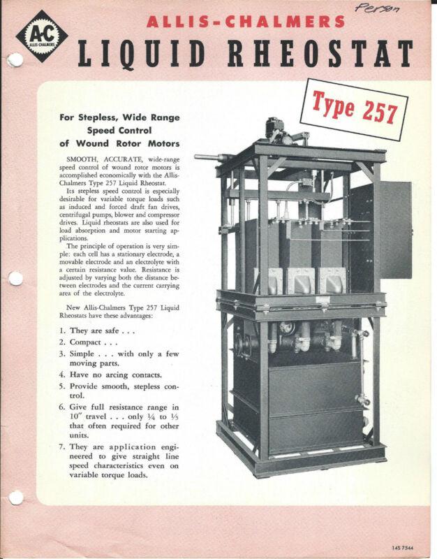 Equipment Brochure - Allis-Chalmers 257 Liquid Rheostat Electrical 1948 (E2792)