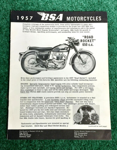1957 BSA MOTORCYCLE BROCHURE ROCKET GOLD STAR CATALINA SCRAMBLER ALLOY CLIPPER