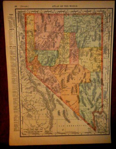 Map of Nevada in 1898-Nice Copy From World Atlas-14 in x 11 in.