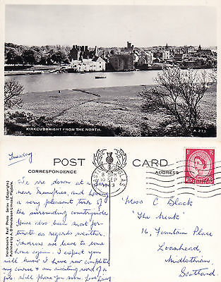 1963 KIRKCUDBRIGHT FROM THE NORTH KIRKCUDBRIGHTSHIRE SCOTLAND RP POSTCARD