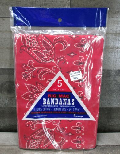 Vintage Big Mac Red Bandana Pack of 5 Handkerchief Penneys Trunk Up Elephant New