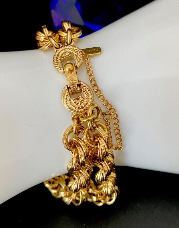 Vintage Signed MONET Polished Gold Tone Link Chain Charm Bracelet Ornate Closure
