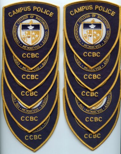 BALTIMORE COUNTY MARYLAND MD Trade Stock 10 Police Patches COLLEGE POLICE PATCH