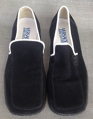 Vintage Men's Versace Jeans Couture Black Suede White Trim Loafers Size 40 (7)