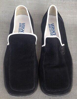 Vintage Men's Versace Jeans Couture Black Suede White Trim Loafers Size 40 (7)