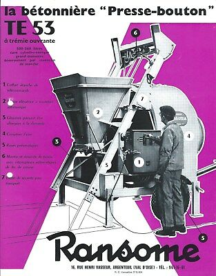 Equipment Brochure - Ransome Te 53 Betonniere Cement Mixer French Lang E4474