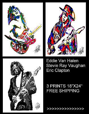 Eddie Van Halen Stevie Ray Vaughan Eric Clapton 3 Rock Music Posters 18x24 - $60.00
