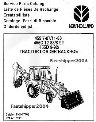 Ford New Holland Tractors 455 455c 455d Loader Backhoe Parts Manual On Cd Fast