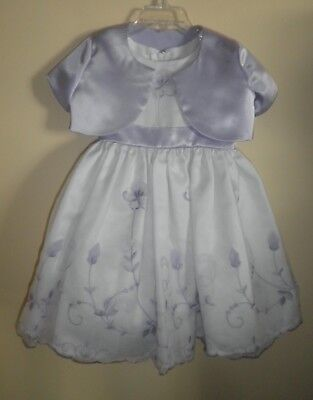 Purple and White Flower Girl or Formal Dress with Satin Jacket- 36 mo -Worn Once