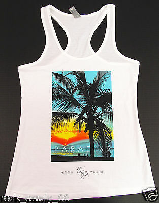 Sunset Palm Tree Tank Top T-shirt Tropical Paradise Tee JUNIORS S-XL White -