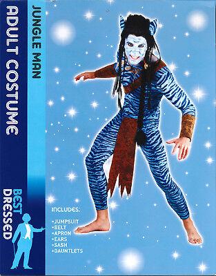BLUE JUNGLE MAN ADULTS FANCY DRESS COSTUME MENS MEDIUM SIZE (Jungle Man Kostüm)
