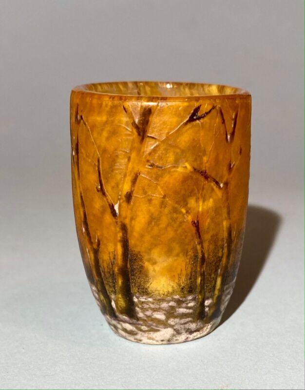 """Daum Nancy Glass Paste Snow Winter Landscape Vase  Ht: 2"""" Antique c.1910"""