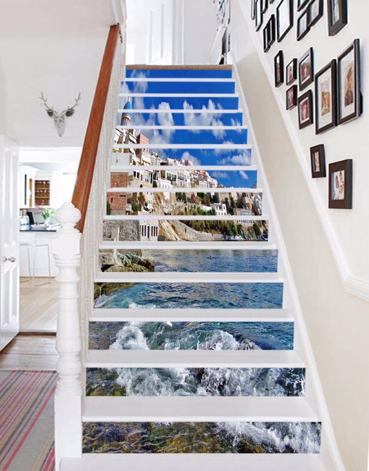 3D Sky house sea Stair Risers Decoration Mural Vinyl Decal