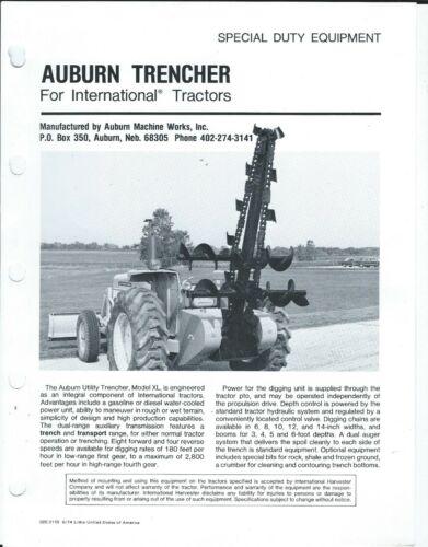 Equipment Data Sheet - Auburn - Trencher for IH Tractor c1974 - Brochure (E6206)
