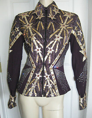 Design Showtime Western Showmanship Zip Up One Of A Kind Jacket Blouse Top S