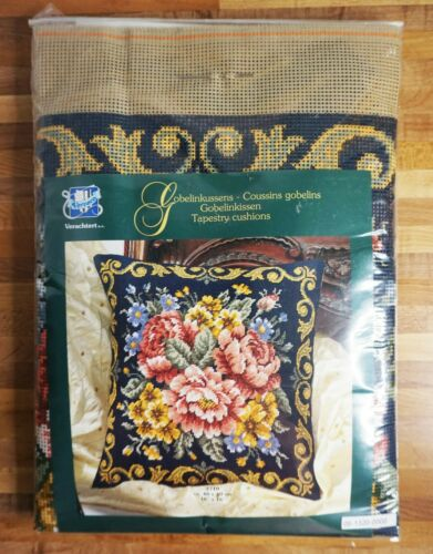 Vervaco Belgium Needlepoint Tapestry Kit 2710 Floral Pillow NEW