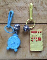 Vintage Plastic Clip On Bell Charms Radio & Alarm Clock