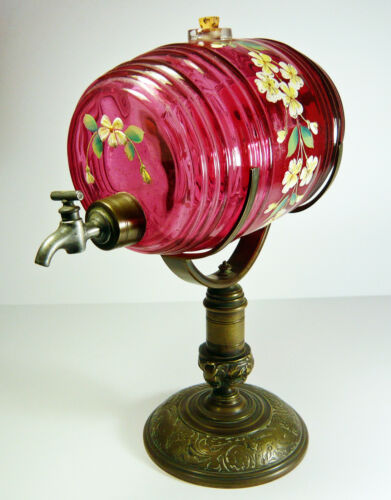 VICTORIAN HANDPAINTED CRANBERRY GLASS BRANDY KEG on FANCY BRONZE STAND