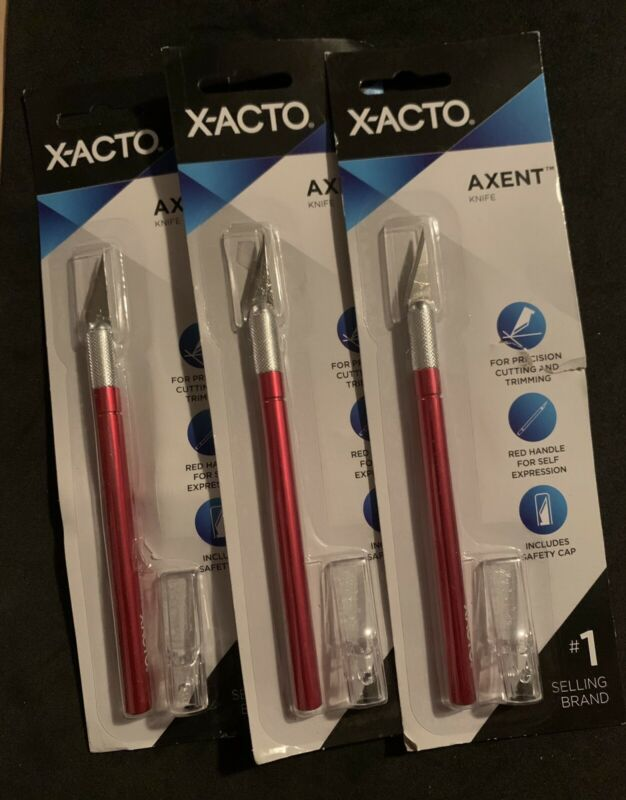 (3) X-ACTO Axent Craft Knife Red X3036 New Sealed Free Shipping