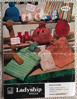 Vintage Ladyship Pattern 4456 for Bazaar Items inc. Hat,Tie, Egg Cosies,Slippers