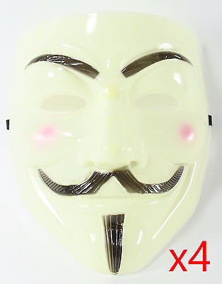 4 Yellow V for Vendetta Guy Fawkes Anonymous Costume Halloween Cosplay Masks - 4 Guys Halloween Costumes