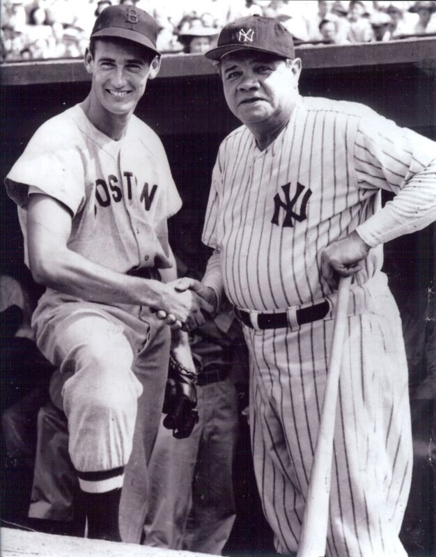 NY Yankees Babe Ruth &  Boston Ted Williams 8x10 B/W outstanding   photo
