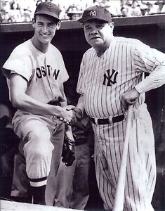 NY Yankees Babe Ruth and Boston Ted Williams 8x10 B/W outstanding glossy photo