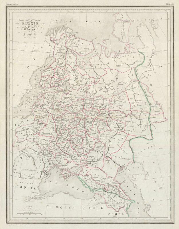 1843 Malte-Brun Map of European Russia