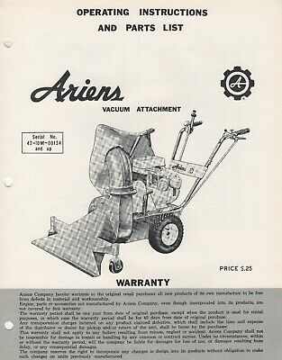 ARIENS VACUUM ATTACHMENT OPERATORS/PARTS MANUAL VA-64 (503)
