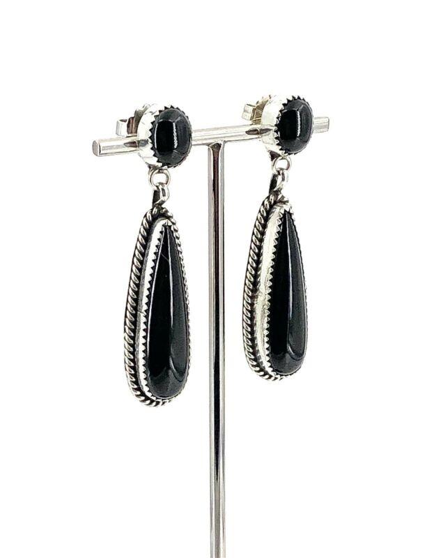 """Vintage """"R"""" Sterling Silver, Double Onyx Decorative Trim Teardrop Post Earrings"""