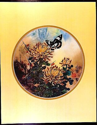 Asian print of butterfy, flowers & berries by artist T.C. Chiu 16x20 inches  for sale  Moorpark