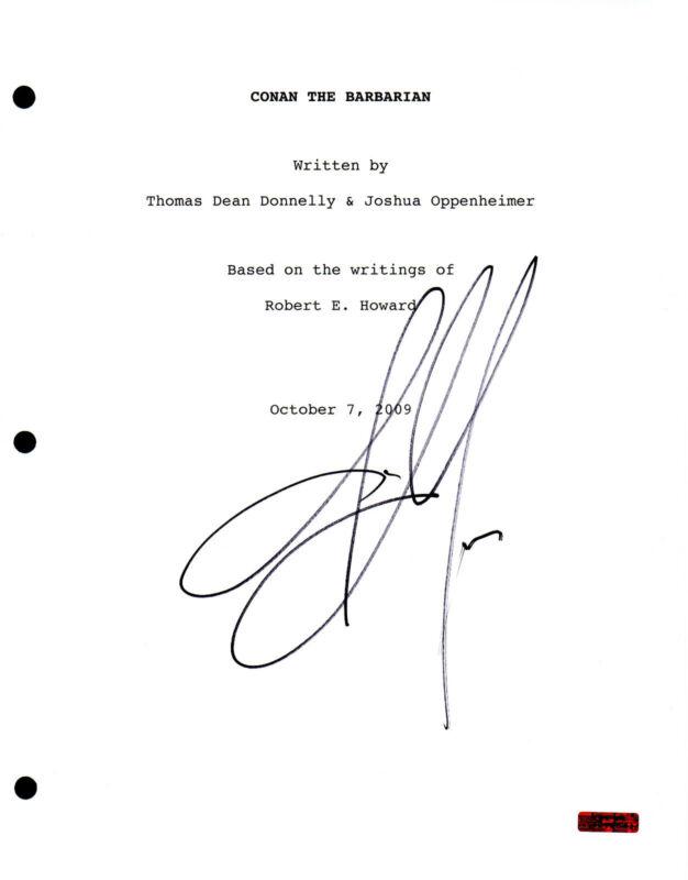 GFA Conan the Barbarian * JASON MOMOA * Signed Full Movie Script AD1 COA