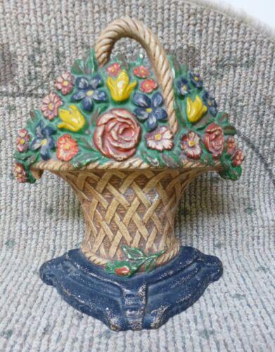 """Antique Hubley  #15 """"Mixed Flowers in Basket""""  Cast Iron Doorstop"""