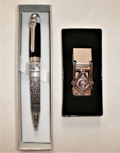 2, NEW Freemason Two-Toned Black-Pewter Ballpoint 1 Pen + Masonic 1 Money Clip
