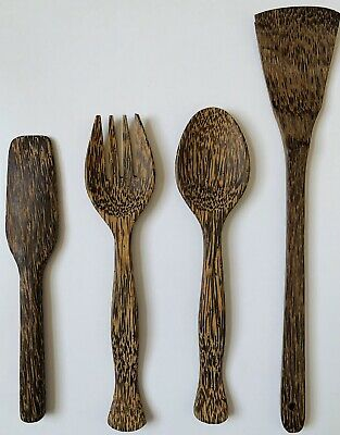 Set of 4 Wooden Bamboo Kitchen Utensils Spoons Genuine Malaysian Bamboo